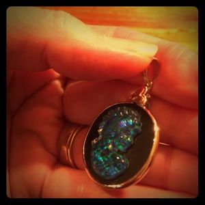 Jewelry - Opal Cameo Sterling Silver Pendant